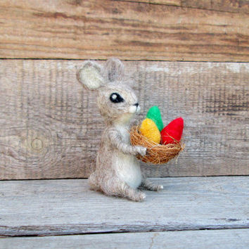 Easter bunny Wool Rabbit Felted hare Easter Eggs basket Cute hare  Easter mini animal Spring décor Mother's Day Wool Rabbit Tiny Easter Gift