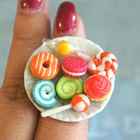 candies and sweets plate ring - jillicious