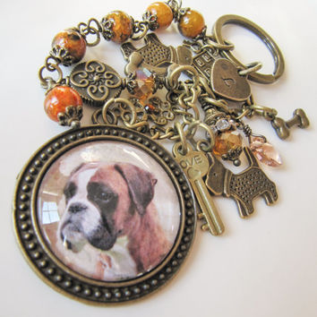 English Bulldog Initial Keychain - bag charm - handmade - personalized - dog - pets - Europe