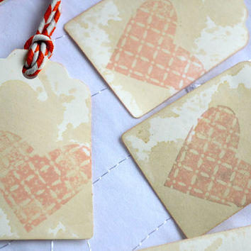 Heart Tag - Gift Tag - Baby Shower Tag - Anniversary Tag - Scrapbook Tag - Birthday Tag - Wedding Shower Tag - Hand Stamped Tag - Party Tag