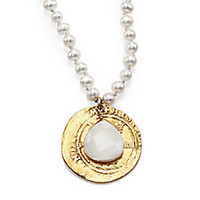 Chan Luu - 4MM White Pearl & Mother-of-Pearl Coin Pendant Necklace - Saks Fifth Avenue Mobile