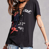 Lace-Up Split Graphic Tee