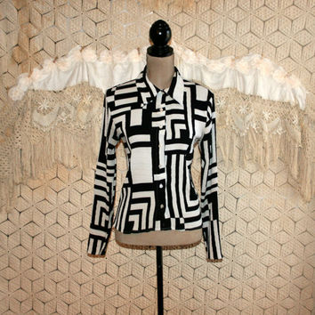 Black White Geometric Blouse Retro Mod Shirt Pointed Collar Small Long Sleeve Blouse 70s Style Button Up Blouse Vintage Womens Clothing