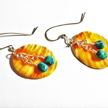 Orange Spiny Oyster and Turquoise Southwestern Silver Earrings