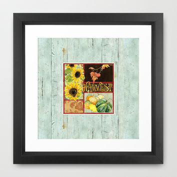 Celebrate Abundance Fall Harvest Sunflower Pumpkin Squash Art Framed Art Print by Audrey Jeannes