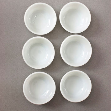 Vintage Anchor Hocking White Ramekins, SET of 6 Milk Glass Round Baking Dishes, Desserts Custard Creme Brulee