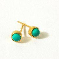 Turquoise Bezel Earrings, Gold Dipped | Dogeared
