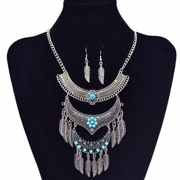 Idealway Bohemian Vintage Turkish Gypsy Jewelry Gold Silver Color Flower Green Bead Leaf Tassel Pendant Necklace Earrings Set