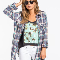 Full Tilt Tommy Womens Boyfriend Shirt Navy  In Sizes