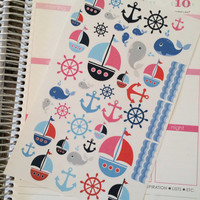 Nautical Planner Stickers - set of 45 - for your Erin Condren Planner sticker, Plum Paper Planner sticker, scrapbook or calendar sticker
