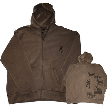 Browning Men's Deer Acid Wash Hoodie Sweatshirt