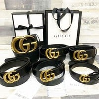 GUCCI Retro Popular Women Men Double G Leather Belt