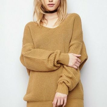 Oversized Cross Back Knit Sweater