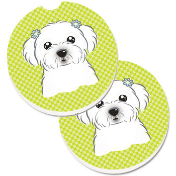 Checkerboard Lime Green Maltese Set of 2 Cup Holder Car Coasters BB1270CARC
