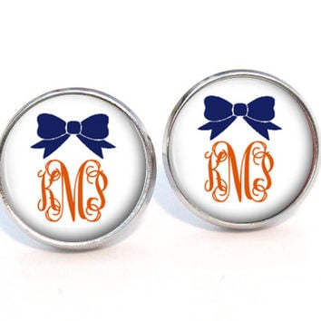 Monogram Earrings, Bow Monogram Stud Earrings, Personalized Monogram Jewelry (568)