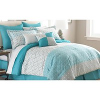 Amrapur Mona 8 Piece Comforter Set In White And Blue