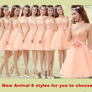 Light Orange Bridesmaid Dress Lace 2014 New Arrival Cheap Bridesmaid Dresses Short 8 Styles Under $50