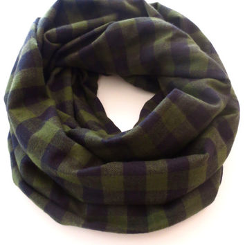 Army Green and Black Plaid Flannel Scarf- Winter Plaid Scarf