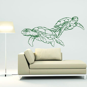Wall Decal Vinyl Sticker Decals Art Home Decor Design Mural Turtle Tortoise Tortoiseshell Water Sea Animal Swim Fashion Bedroom Dorm AN373