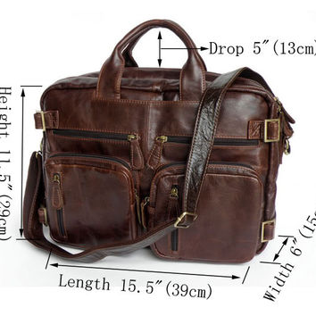 Chocolate Genuine Vintage Leather Men's Briefcase Backpack