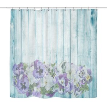 Pansy Wood Look Shower Curtains