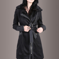 Leather Weather Coat Jacket with Faux Leather Details and Cheetah Lining
