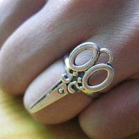 Ring-Antique silver scissors, silvery rings-R004