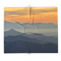 Society6 Sunset At The Mountains Blanket