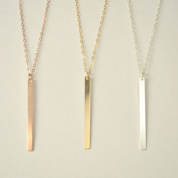 Vertical Bar,thin bar necklace, gold vertical bar, silver vertical bar, rose gold vertical bar, vertical bar necklace, long bar  //N-121