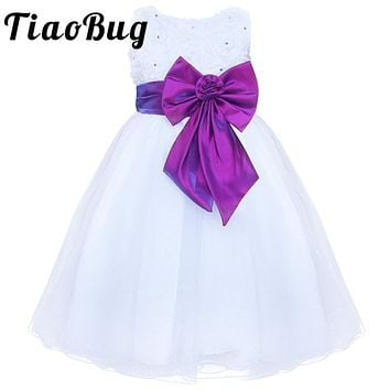 TiaoBug White Flower Girl Dresses Kids Girls Pearls Tulle Formal First Communion Dress Bow Knot Pageant Prom Party Dress 3-8Y