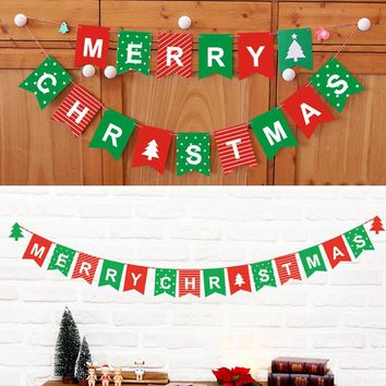 Merry Christmas Bunting Garland Banner Hanging Flag Shop Home navidad XMAS Party Decor christmas decorations for home decoratie