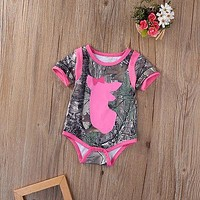 Newborn Infant Baby Girls Boys Clothes Short Sleeve Bowknot deer Romper Jumpsuit Outfits 0-18M