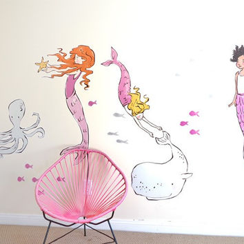 Sara Jane Mermaids Fabric Wall Decals