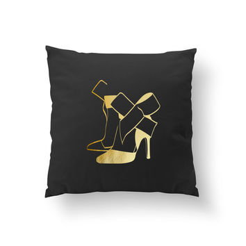 Heels With Bow Pillow, Decorative Pillow, Fashion Illustration, Cushion Cover, Fashion Chic, Shoe Decoration, Fashion Pillow, Throw Pillow