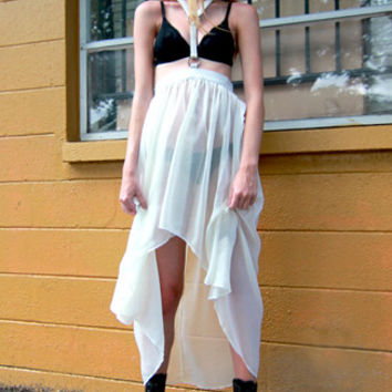 Fall From Grace Hi- Lo Skirt w/ Snake Skin Halter Harness in Off-White
