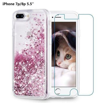 PEAPGQ6 iPhone 8 Plus Case, iPhone 7 Plus Case, Maxdara [Screen Protector] Glitter Liquid Protective Bumper Case Floating Bling Sparkle Quicksand Pretty Fashion Design for Girls Children 5.5 inch (Rosegold)