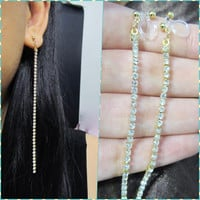 Clear Rhinestone Thin Line Treader earring R3G 'clip on earring' shoulder duster long thread earring non pierced wedding clip on earring