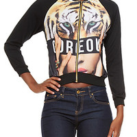 Bomber Jacket with Gorgeous Tiger Graphic