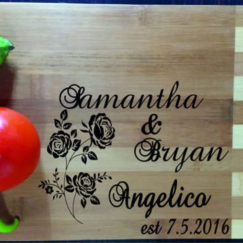 Custom Personalized Cutting Board Engraved, Wood Cutting Board, Wedding Gift, Housewarming Gift, Anniversary Gift, Valentines Day Gift