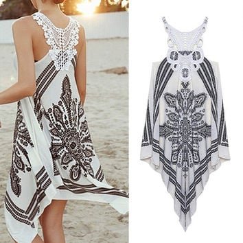 Summer Dress Girls Embroidery Lace Patchwork Asymmetrical Crochet Bohemian Dress Women Dress 6061 = 1928634436