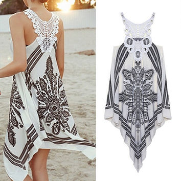 Summer Dress Girls Embroidery Lace Patchwork Asymmetrical Crochet Bohemian Dress Women Dress 6061 = 5737784001