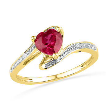 10kt Yellow Gold Womens Heart Lab-Created Ruby Diamond-accent Bypass Ring .01 Cttw 101255