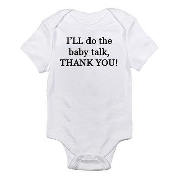 $13.50 I'll Do The Baby Talk Thank You Embroidered Baby by MyOliveFlower