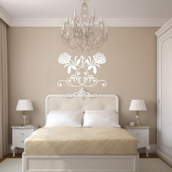 Wall Decal Damask Rose Vine Vinyl Wall Decal 22267
