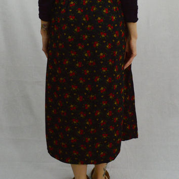 Soft Grunge Skirt Floral Black Boho Long MED High Waist Skirt 90s Vintage Womens Clothing Pleated Elastic waist Small Country Chic Red Gold