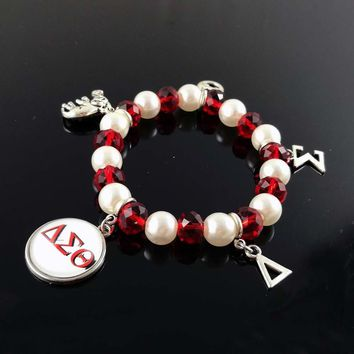Delta Sigma Theta Sorority DST Greek White Pearl Red crystal cutom DIY charm elastic Bracelet Jewelry