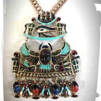 Rare 1970s Vintage Brass Egyptian Necklace & Earing // Cleopatra Necklace // Scarab // Eye of Ra // Ancient Egypt Style Necklace