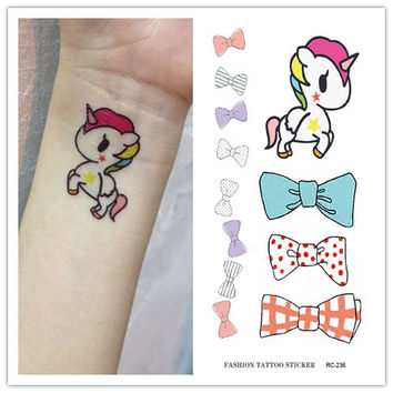 RC2236 Waterproof Fake Tattoo Stickers Cute Cartoon Horse Bow Tie Pattern Design Water Transfer Large Temporary Tattoos Sticker