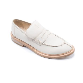Brunello Cucinelli Beige Leather Tan Loafer Shoes