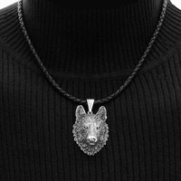 Tribal Wolf Head Pendant on Premium Quality 8 Strand Leather Cord Necklace